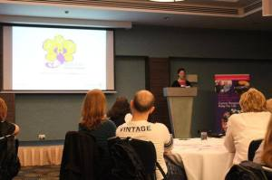Dawn Green from Pseudomyxoma Survivor presenting at the Cancer research UK Conference in Birmingham