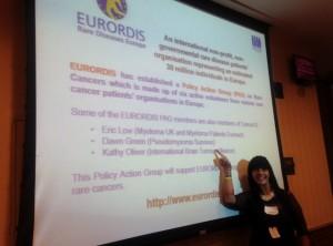 Pseudomyxoma Survivor Dawn Green at the presention of Eurordis' rarer cancers initiative