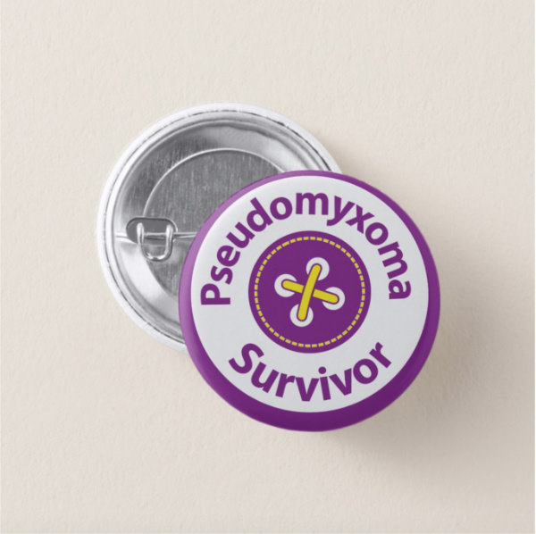 "Small, 3.2 cm (1.25"") Round Pseudomyxoma Survivor Badge"