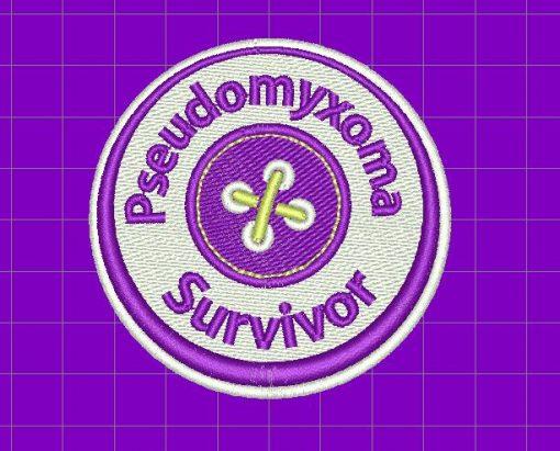 Image of embroidered Pseudomyxoma Survivor logo as used on the Pseudomyxoma Survivor fleece