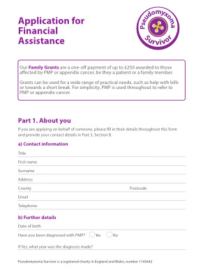 Image of 2018 Application form for a family grant for those affected by pseudomyxoma peritonei or appendix cancer